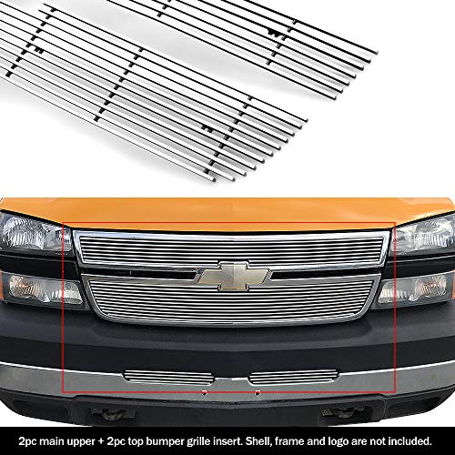 Compatible with 06 Chevy Silverado 1500 05-06 2500 Billet Grille Combo C67673A