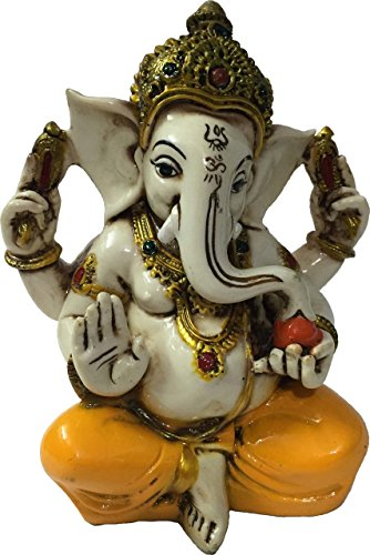 The Blessing. A Colored & Gold Statue of Lord Ganesh Ganpati Elephant Hindu God Made From Marble Powder in (Marble God Statue)