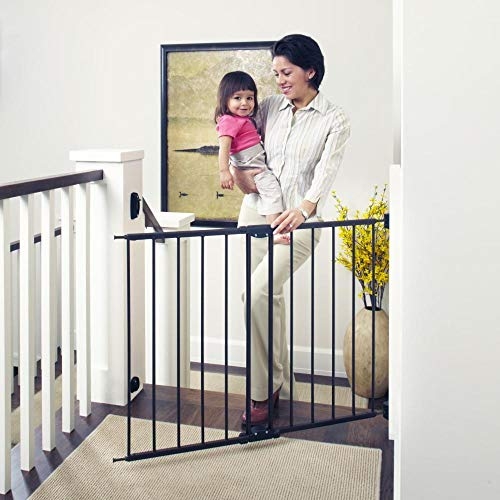 Toddleroo by North States 47.85 Wide Easy Swing Lock Baby Gate Ideal for Wider Areas and stairways. Hardware Mount. Fits Openings 28.68 – 47.85 Wide 31 Tall, Matte Bronze