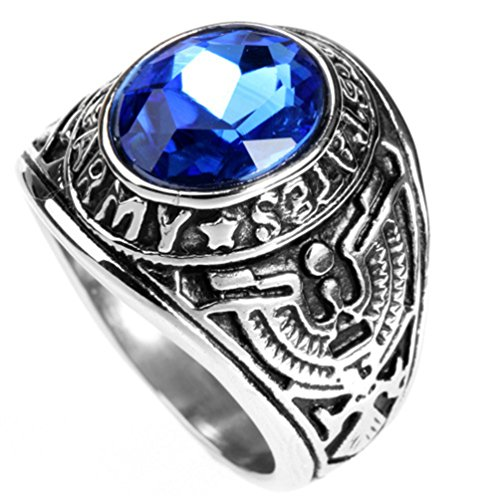 HIJONES Men's Stainless Steel United States Army Ring with Red Stone, Blue Size 11 (Army Service Rings)