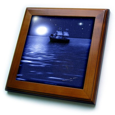 - 3dRose ft_6670_1 Pirate Ship-SmudgeArt Ship Art-Framed Tile, 8 by 8-Inch