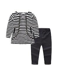 LittleSpring Little Girls' Pants Set Striped