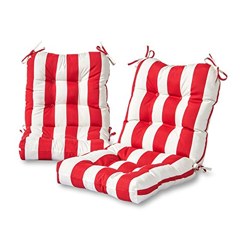 Greendale Home Fashions Outdoor Seat/Back Chair Cushion (set of 2), Cabana Red by Greendale Home Fashions