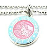 Get Back Supply Co Mini Saint Christopher Surf Medal Pendant Necklace Pink/Baby Blue PI/BB