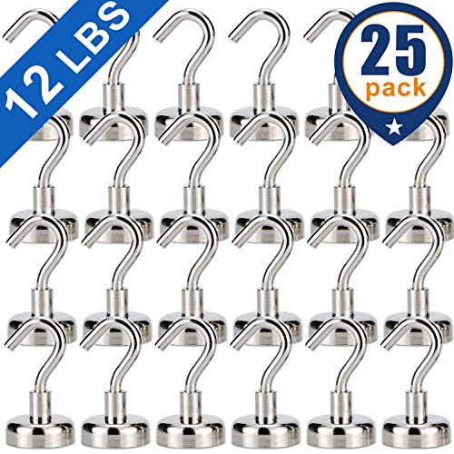 Heavy Duty Magnetic Hooks, Strong Neodymium Magnet Hook for Home, Kitchen, Workplace, Office and Garage, Hold up to 12 Pounds -