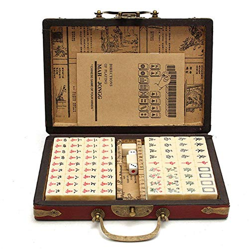 Bestmemories 144 PCS Travel Mahjong Portable Mah-jongg with Archaistic Leather Box and Manual in English for Home Party Gaming (Random Pattern of Box Delivery)