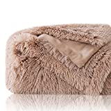 Bedsure Plush Faux Fur Reversible Fleece Bed Blanket Fuzzy Nap Blanket -Super Soft Lightweight Blanket for Boys Girls Adults (Twin 60 x 80 inches, Camel)