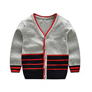 Fairy Baby Toddler Baby Boys Cotton Sweater Cardigan Knitted Buttons up Coats Outwear Size 2-3T (Gray)