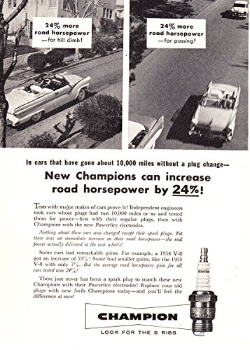 Spark Plugs Horsepower (1956 Champion Spark Plug: Increase Road Horsepower, Champion Print Ad)