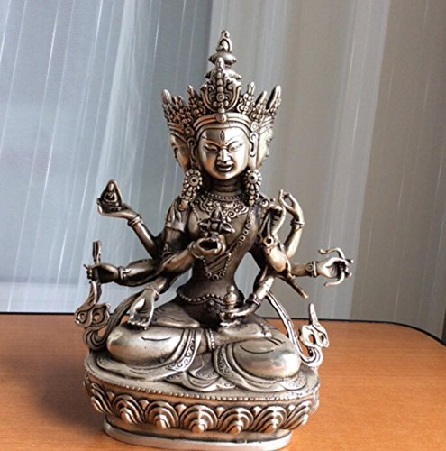 EASTCODE tibetan Buddhist brass coated silver Ushnishavijaya buddha statue 22 cm 1.6 KG wedding copper Decoration real Brass