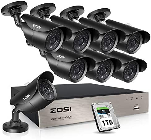 ZOSI 8CH Outdoor Security Camera System with Hard Drive 1TB, H.265 8Channel 1080P HD-TVI DVR and 8 1080P HD Weatherproof Surveillance Camera System,120ft Night Vision