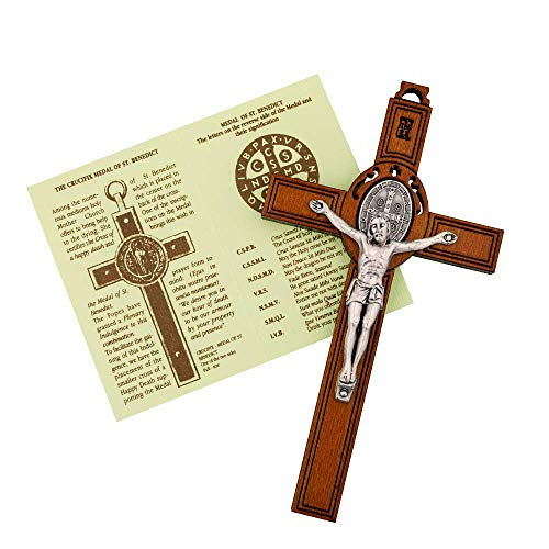 Vatican imports St. Benedict Cross Crucifix with Inlaid St. Benedict Medal