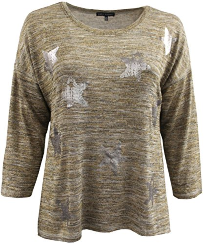 Women's Plus-Size 3/4 Sleeve Knit Top Metallic Stars Sweater Knit Shirt Gold Stars 2X G160.25L - Metallic Knit Top
