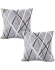 Nunubee Örngott chenille material linje stil kudde dekoration dekorativ canape deco skandinavisk soffa Casa Divano Letto bildekoration, grå 45 x 45 cm