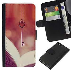 A-type (Love Key Heart Book Reading Vignette) Colorida Impresión Funda Cuero Monedero Caja Bolsa Cubierta Caja Piel Card Slots Para Apple Iphone 5C