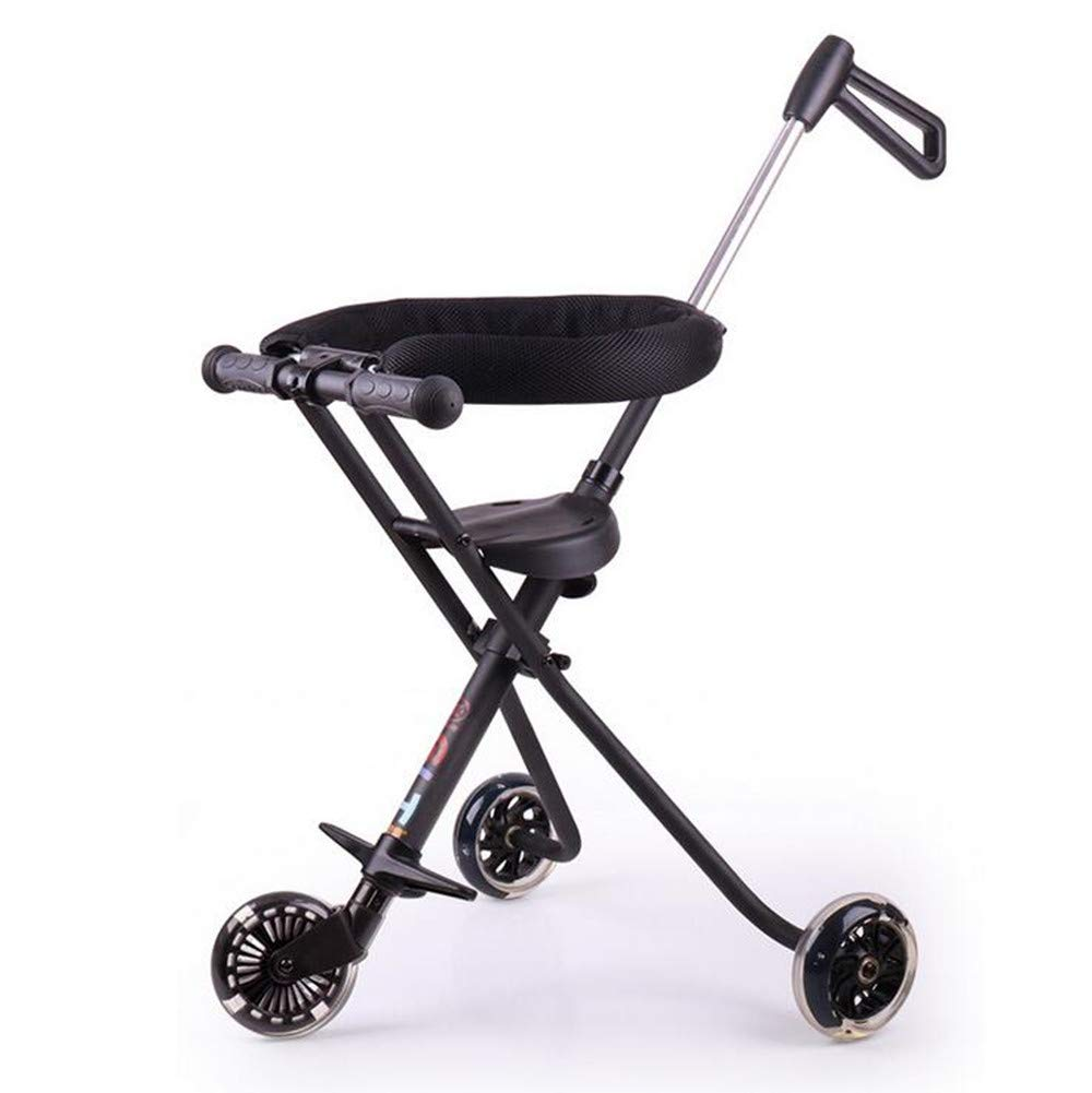 YBL Simple Light Weight Foldable Three Wheeled Travel Baby Stroller Tricycle Suitable for 3-8 Year Old Children Aluminum Alloy (Black)