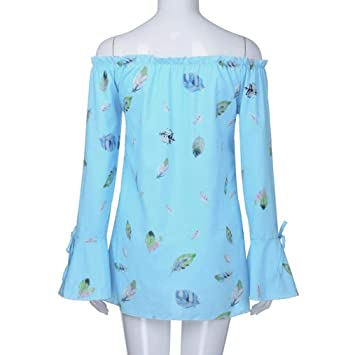 1c4e9031bba004 Image Unavailable. Image not available for. Color  Nice Women s Long Sleeve  Floral Print Plus Size Off Shoulder Loose Tops ...
