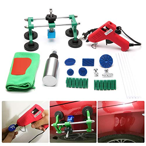 Auto Body Paintless Dent Repair Tool Kit,Car Bridge Dent Puller,Glue Puller Tabs for Car, Glue Shovel for Auto Dent Removal, Minor dents, Door Dings and Hail Damage (Best Paintless Dent Repair Tools)
