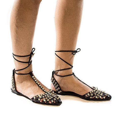Dorsay Tachonado Con Punta En T T-strap Tobillo Con Cordones Ballet Pisos Negro Pu