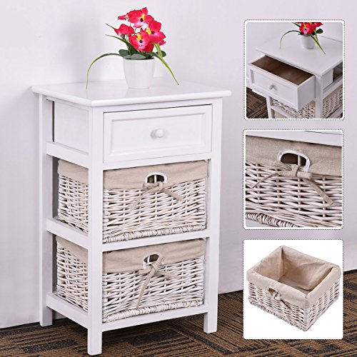 Giantex White Night Stand 3 Tiers 1 Drawer Bedside End Table Organizer Wood W/2 Baskets,Set Of 2 (2White) - bedroomdesign.us