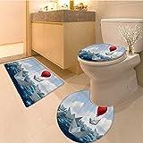 3 Piece Anti-slip mat set Sai Boats of Paper Hot Balloon Success in Motivationa Fabric Baht Set with Hooks Blu Non Slip Bathroom Rugs