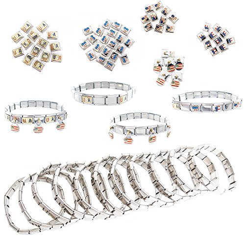 (60 Italian Link Stainless Steel Charms and 12 Modular Starter Bracelets - Great Americana Theme and 4th of July Party Favors - American Patriotic Accessories for Women Men Kids 72)