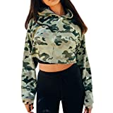 Challyhope Women Camouflage Hooded Casual Long Sleeve Sweatshirt Pullover Crop Tops (M, Camouflage)