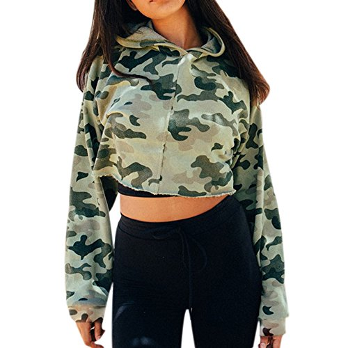 Challyhope Women Camouflage Hooded Casual Long Sleeve Sweatshirt Pullover Crop Tops (M, Camouflage) by Challyhope (Image #5)