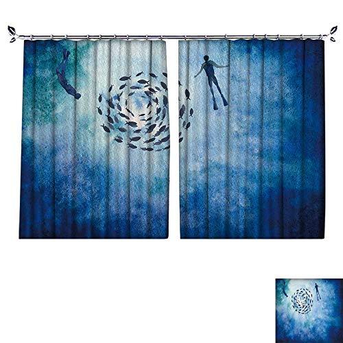 PRUNUS Curtain with Hook h painte Mockup Clipart templaate backgroun Underwater worl Blackout Draperies for Bedroom,W63 -