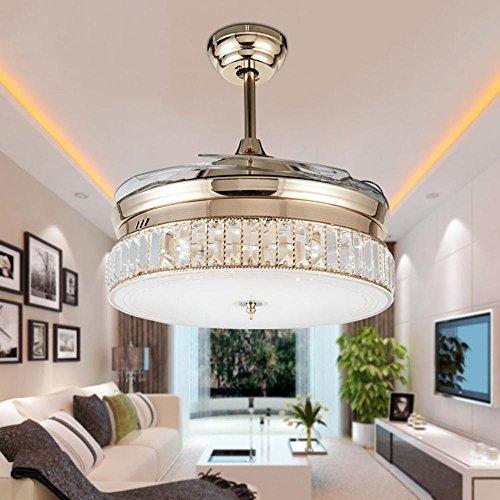 KHSKX European-led stealth ceiling fan lights, the new Crystal stealth ceiling fan light, stylish dining room living room fan chandelier by KHSKX (Image #3)'