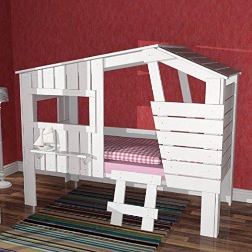 lounge zone h hlenbett baumhausbett kinderbett bett baumhaus spielh hle weiss nicht beige. Black Bedroom Furniture Sets. Home Design Ideas