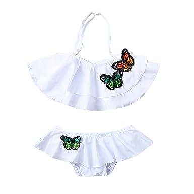 6a8b1a2269dc8 EDTO Toddler Children Baby Girls Ruffles Butterfly Print Summer Swimwear  Swimsuit Bikini Outfits (18-