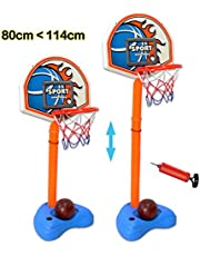 deAO Basketball Playset for Children Self Standing Portable Basketball Set Adjustable Height (up to 114cm) for Indoors and Outdoors Sport Activities Include Ball