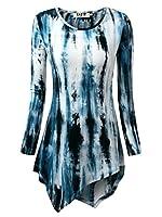 DJT Womens Tie Dyed Hankerchief Hemline Tunic Top