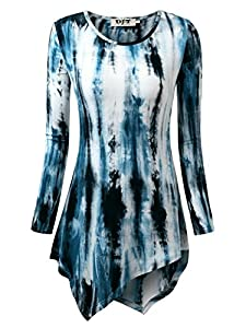 DJT Womens Tie Dyed Hankerchief Hemline Tunic Top