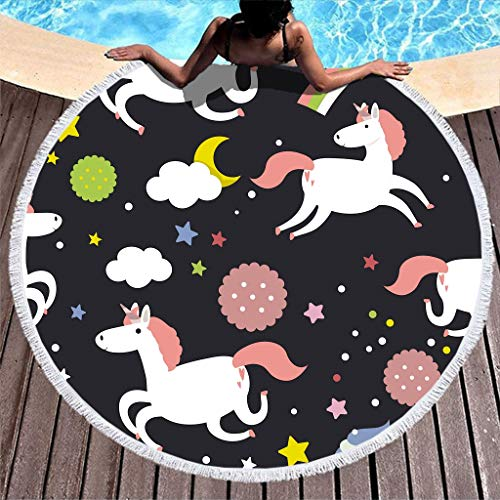 HMML Personalized Round Beach Towels - Starry Sky Flying Unicorn Pool Swim Yoga Towel Absorbent Terry Throw with Tassels Compact for Fitness Swimming White 59 inch
