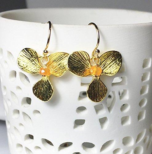 Gold Carnelian Orchid Drop Earrings, Gemstone - Earrings Floral Carnelian