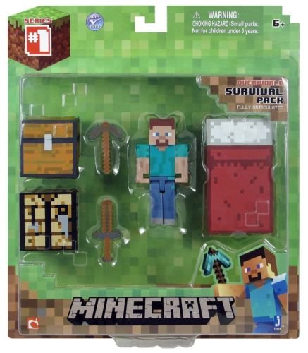 Unbranded Minecraft Series 1 Core Player Survival Pack Figure Action Steve -