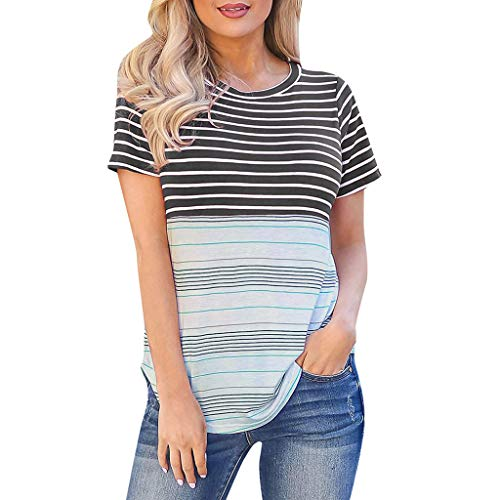 (〓COOlCCI〓 Womens Long/Short Sleeve Round Neck T Shirts Color Block Striped Casual Blouses Tops Black)