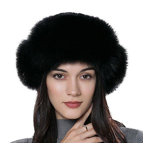 Fox Fur Trim Hat (URSFUR Women Russian Rex Rabbit Fur Trapper Hat with Fox Fur Trim Multicolor)