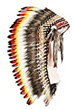 Y31- Medium Indian Three colors Headdress ( 36 inch long ).Native American Style