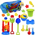Children's Beach Toy Double Sand Wheel Summer Colorful Play Set with Watering Can, Shovels, Rakes, Bucket , Sea Creatures, Castle Molds and Mesh Bag 18pcs