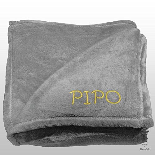 BgEurope Personalized Multi-USE Polar Sofa Bed Travel Fleece Blanket with Name - REF. DULCELINA - Beige