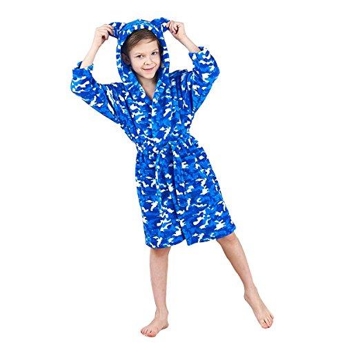 JuneBloom Soft Unisex Kids Bathrobe Hooded Fleece Sleepwear Boys Girls Loungewear 2 Years ()