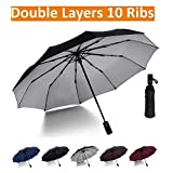 Luxau Large Compact Umbrella with UV Protection, Windproof Travel Umbrella for Sun Rain, w/47in Sturdy Double Layer Big Canopy, 10 Rib, Collapsible 3 Fold, Auto Open Close, for Men Business Golf, Multi Color