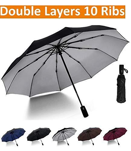 392a09889c88c Large Compact Umbrella with UV Protection, Windproof Travel Umbrella for  Sun Rain, w/