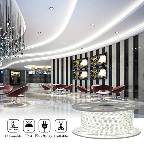 Shine Decor 7x10mm LED Strip Lights, 110V Dimmable Flexible Waterproof Rope Lights, 60LEDs/M, for Indoor Outdoor Ambient Commercial Lighting Decoration, Accessories Included, 50ft 6500K Cool White