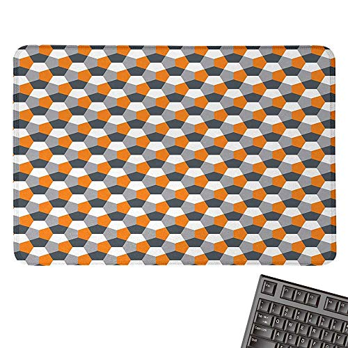 "AbstractOffice Mouse PadModern Style Origami Inspired Mosaic Tile with Hexagonal ShapesWaterproof Mice Pad 15.7""x23.6""Grey Charcoal Grey Orange"