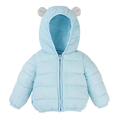 Chinatera Little Boys Girls Winter Casual Solid Color Ears Hooded Down Parka Coat Outerwear Warm Jacket