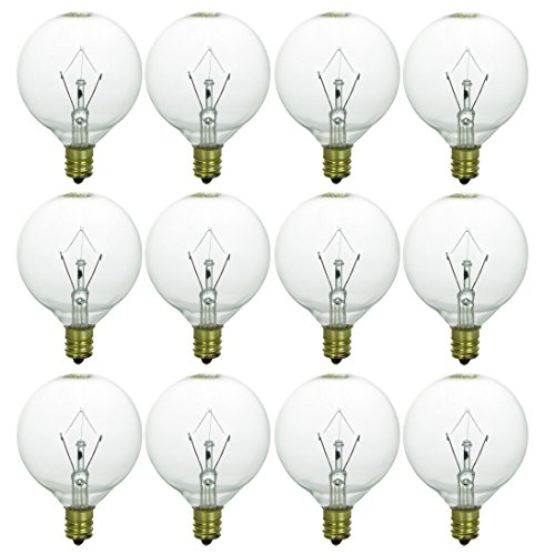 Sunlite 25G16.5/CL/12PK 25W Incandescent G16.5 Globe Crystal Clear Light Bulb with Candelabra E12 Base
